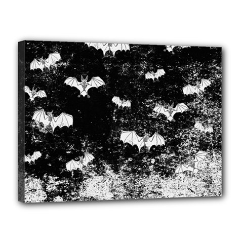 Vintage Halloween Bat Pattern Canvas 16  X 12  by Valentinaart