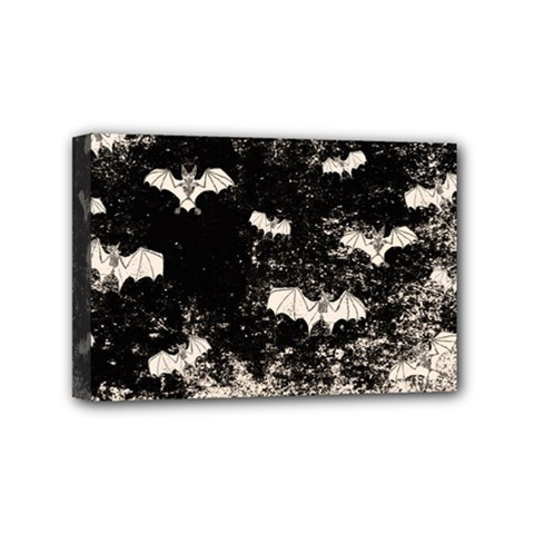 Vintage Halloween Bat Pattern Mini Canvas 6  X 4  by Valentinaart
