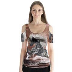 Steampunk, Awesome Steampunk Horse With Clocks And Gears In Silver Butterfly Sleeve Cutout Tee