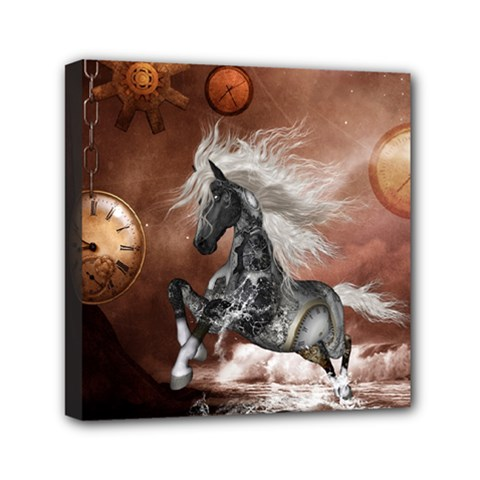 Steampunk, Awesome Steampunk Horse With Clocks And Gears In Silver Mini Canvas 6  X 6  by FantasyWorld7