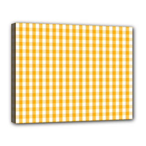 Pale Pumpkin Orange And White Halloween Gingham Check Canvas 14  X 11  by PodArtist