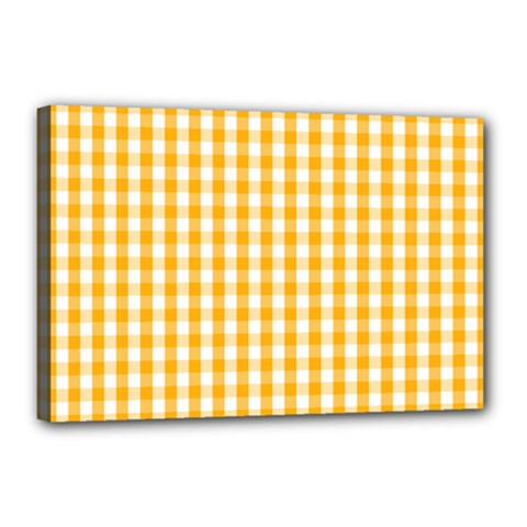 Pale Pumpkin Orange And White Halloween Gingham Check Canvas 18  X 12  by PodArtist