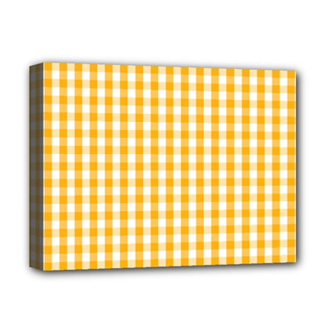 Pale Pumpkin Orange And White Halloween Gingham Check Deluxe Canvas 16  X 12   by PodArtist