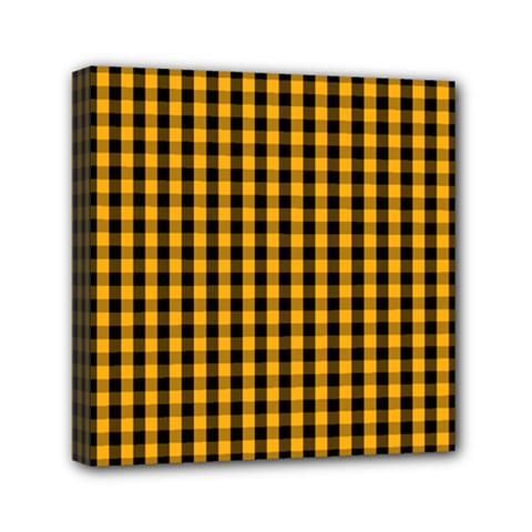 Pale Pumpkin Orange And Black Halloween Gingham Check Mini Canvas 6  X 6  by PodArtist