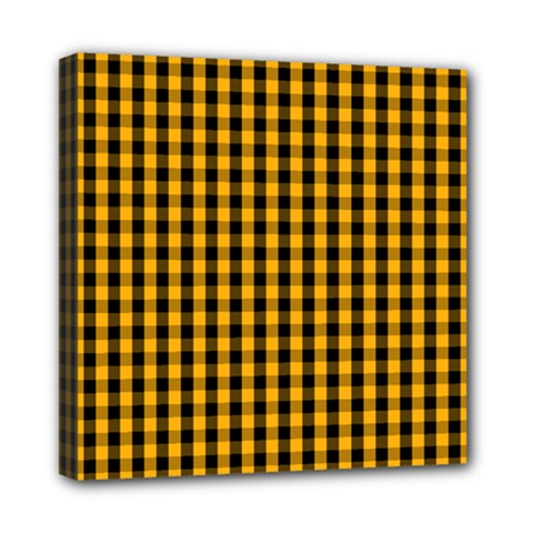 Pale Pumpkin Orange And Black Halloween Gingham Check Mini Canvas 8  X 8  by PodArtist