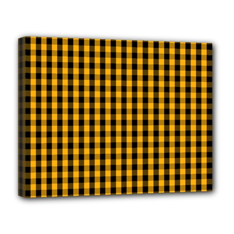 Pale Pumpkin Orange And Black Halloween Gingham Check Canvas 14  X 11  by PodArtist
