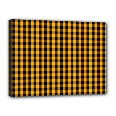 Pale Pumpkin Orange And Black Halloween Gingham Check Canvas 16  X 12  by PodArtist