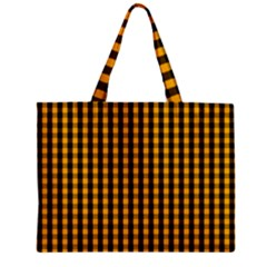 Pale Pumpkin Orange And Black Halloween Gingham Check Zipper Mini Tote Bag by PodArtist