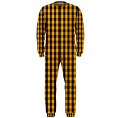 Pale Pumpkin Orange And Black Halloween Gingham Check Onepiece Jumpsuit (men)  by PodArtist