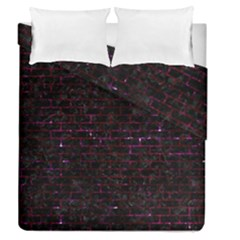 Brick1 Black Marble & Burgundy Marble Duvet Cover Double Side (queen Size) by trendistuff