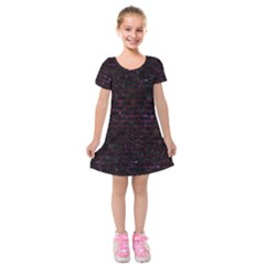 Brick1 Black Marble & Burgundy Marble Kids  Short Sleeve Velvet Dress