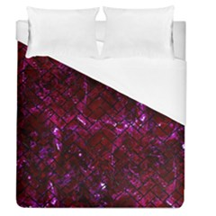 Brick2 Black Marble & Burgundy Marble (r) Duvet Cover (queen Size) by trendistuff
