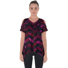 Chevron2 Black Marble & Burgundy Marble Cut Out Side Drop Tee