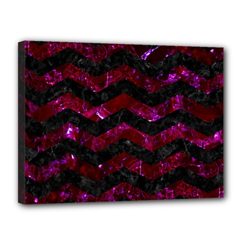 Chevron3 Black Marble & Burgundy Marble Canvas 16  X 12  by trendistuff