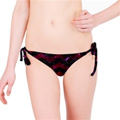 Chevron3 Black Marble & Burgundy Marble Bikini Bottom by trendistuff