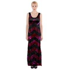 Chevron3 Black Marble & Burgundy Marble Maxi Thigh Split Dress by trendistuff