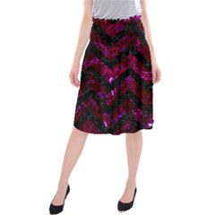 Chevron9 Black Marble & Burgundy Marble (r) Midi Beach Skirt by trendistuff