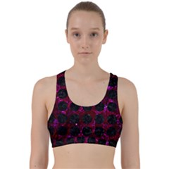 Circles1 Black Marble & Burgundy Marble (r) Back Weave Sports Bra by trendistuff