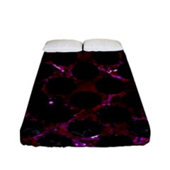 Circles2 Black Marble & Burgundy Marble (r) Fitted Sheet (full/ Double Size) by trendistuff