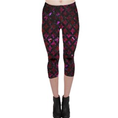 Circles3 Black Marble & Burgundy Marble (r) Capri Leggings  by trendistuff
