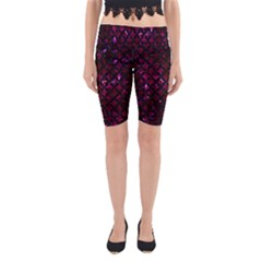 Circles3 Black Marble & Burgundy Marble (r) Yoga Cropped Leggings by trendistuff