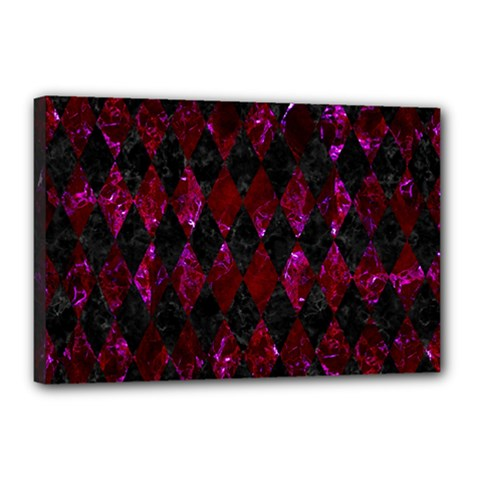 Diamond1 Black Marble & Burgundy Marble Canvas 18  X 12  by trendistuff