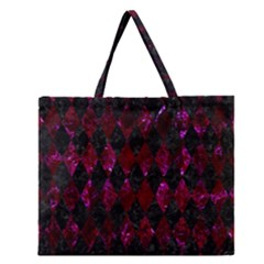 Diamond1 Black Marble & Burgundy Marble Zipper Large Tote Bag by trendistuff