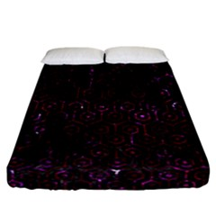Hexagon1 Black Marble & Burgundy Marble Fitted Sheet (california King Size) by trendistuff