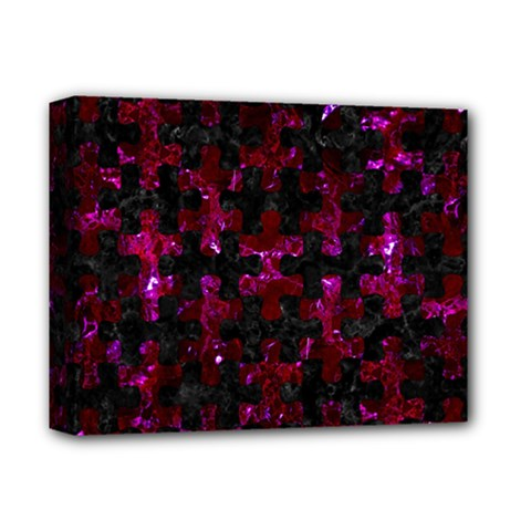 Puzzle1 Black Marble & Burgundy Marble Deluxe Canvas 14  X 11  by trendistuff