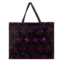 Royal1 Black Marble & Burgundy Marble (r) Zipper Large Tote Bag by trendistuff