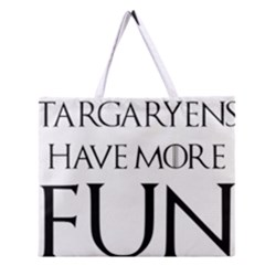 Targaryens Have More Fun   Blondes Have More Fun Black Zipper Large Tote Bag by PodArtist