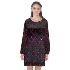 Scales1 Black Marble & Burgundy Marble Long Sleeve Chiffon Shift Dress