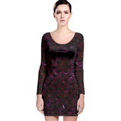 Scales2 Black Marble & Burgundy Marble Long Sleeve Velvet Bodycon Dress by trendistuff