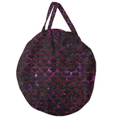 Scales3 Black Marble & Burgundy Marble Giant Round Zipper Tote by trendistuff
