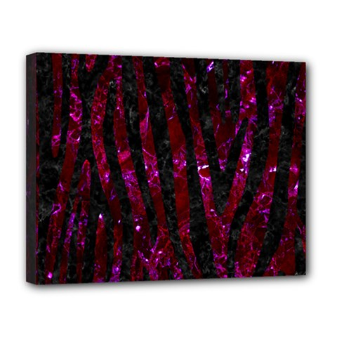 Skin4 Black Marble & Burgundy Marble Canvas 14  X 11  by trendistuff