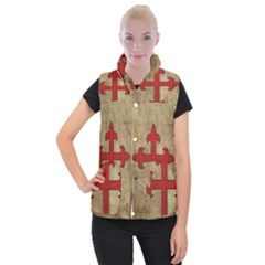 Crusader Cross Women s Button Up Puffer Vest by Valentinaart