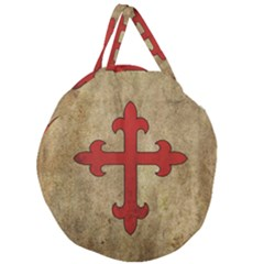 Crusader Cross Giant Round Zipper Tote