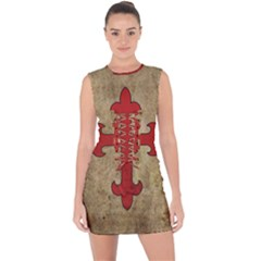 Crusader Cross Lace Up Front Bodycon Dress