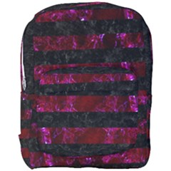 Stripes2 Black Marble & Burgundy Marble Full Print Backpack by trendistuff
