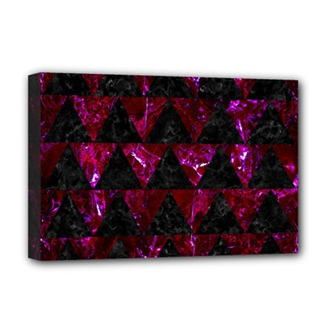 Triangle2 Black Marble & Burgundy Marble Deluxe Canvas 18  X 12   by trendistuff