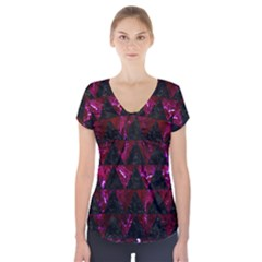 Triangle2 Black Marble & Burgundy Marble Short Sleeve Front Detail Top by trendistuff