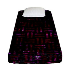 Woven1 Black Marble & Burgundy Marble Fitted Sheet (single Size) by trendistuff