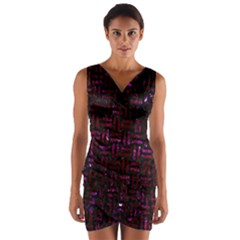Woven1 Black Marble & Burgundy Marble Wrap Front Bodycon Dress