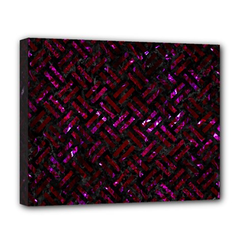 Woven2 Black Marble & Burgundy Marble Deluxe Canvas 20  X 16   by trendistuff