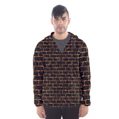 Brick1 Black Marble & Copper Foilper Foil Hooded Wind Breaker (men) by trendistuff