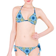 Blue Nice Daisy Flower Ang Yellow Squares Bikini Set by MaryIllustrations