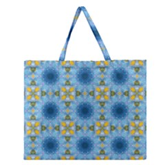 Blue Nice Daisy Flower Ang Yellow Squares Zipper Large Tote Bag