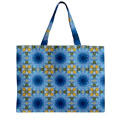 Blue Nice Daisy Flower Ang Yellow Squares Zipper Medium Tote Bag