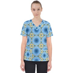 Blue Nice Daisy Flower Ang Yellow Squares Scrub Top by MaryIllustrations