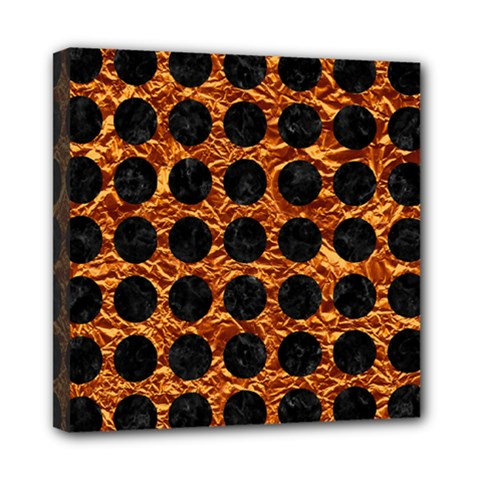 Circles1 Black Marble & Copper Foil (r) Mini Canvas 8  X 8  by trendistuff